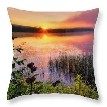 Throw Pillow featuring the photograph Summer Sunrise Square by Bill Wakeley