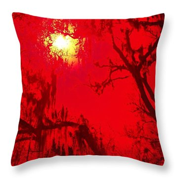 Sun Drips Red Throw Pillow