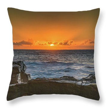 Sun Rising Over The Sea Throw Pillow