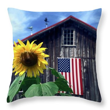 Sunflower By Barn Throw Pillow by Sally Weigand