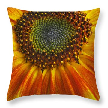 Sunflower Center Throw Pillow by Elvira Butler