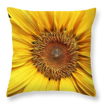 Sunflower Field At Sunrise Throw Pillow