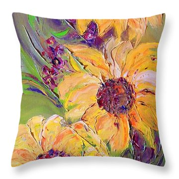 Throw Pillow featuring the painting Sunflowers by AmaS Art