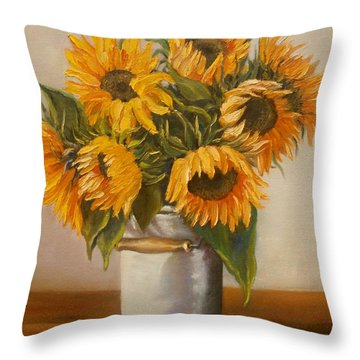 Throw Pillow featuring the painting Sunflowers by Nina Mitkova