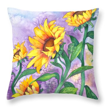 Throw Pillow featuring the painting Sunny Sunflowers by Kristen Fox