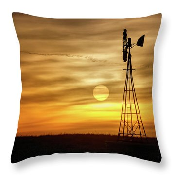 Throw Pillow featuring the photograph Sunset And Windmill by Rob Graham