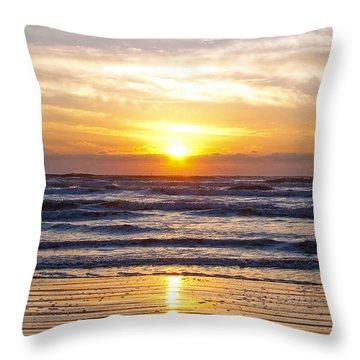 Sunrise At Beach Throw Pillow