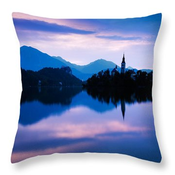 Sunrise At Lake Bled Throw Pillow