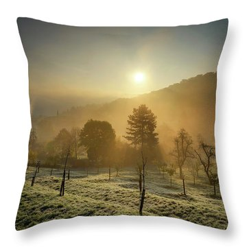 Sunrise From Petrin Yard In Prague, Czech Republic Throw Pillow