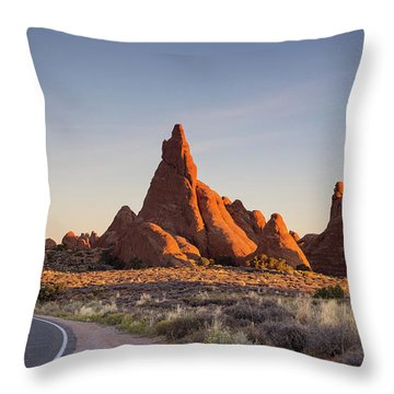 Sunrise In Arches National Park Throw Pillow