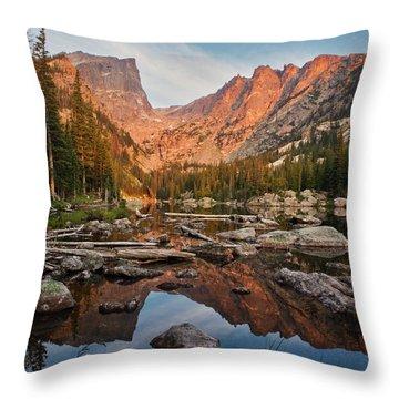 Dream Lake Sunrise Throw Pillow