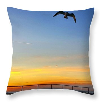 Sunrise Seagull Throw Pillow