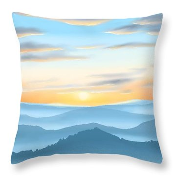 Throw Pillow featuring the painting Sunrise by Veronica Minozzi