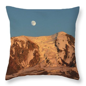 Sunset And Moonrise At Mt Adams Throw Pillow by Jack Moskovita