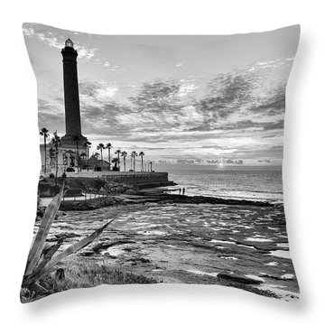 Throw Pillow featuring the photograph Sunset At Chipiona Lighthouse Cadiz Spain by Pablo Avanzini