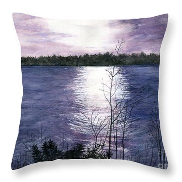 Throw Pillow featuring the painting Sunset At Niagara River New York by Melly Terpening