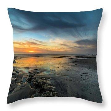 Sunset At Swamis Beach Throw Pillow
