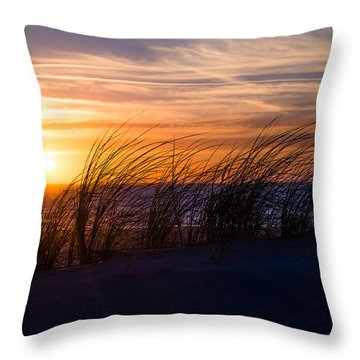 Throw Pillow featuring the photograph sunset at the North Sea by Hannes Cmarits