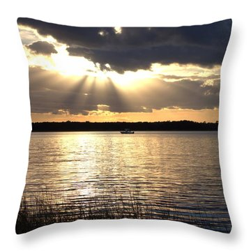 Sunset On The Cape Fear River Throw Pillow