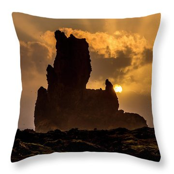 Sunset Over Cliffside Landscape Throw Pillow