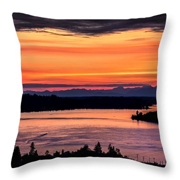 Sunset Over Hail Passage On The Puget Sound Throw Pillow