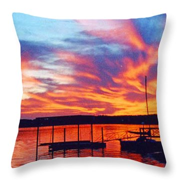 Sunset Over Lake Murray Throw Pillow