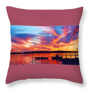 Sunset Over Lake Murray Throw Pillow