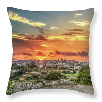 Sunset Over Qrendi Throw Pillow by Stephan Grixti