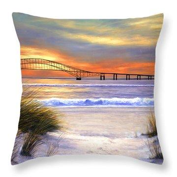 Sunset Over Robert Moses Throw Pillow