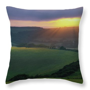 Sunset Over The South Downs Throw Pillow