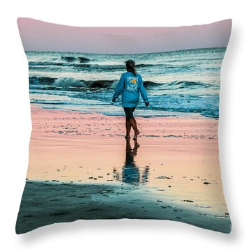Sunset Stroll In The Surf Hilton Head Throw Pillow