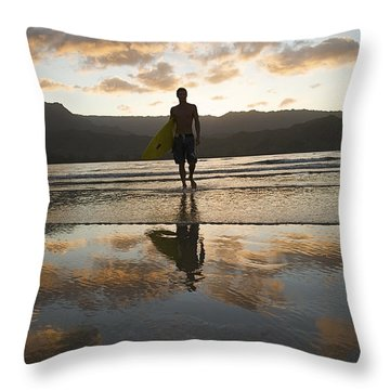 Sunset Surfer Throw Pillow by Kicka Witte - Printscapes