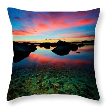 Sunset With A Whale Throw Pillow