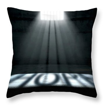 Sunshine Shining In Prison Cell Window Throw Pillow