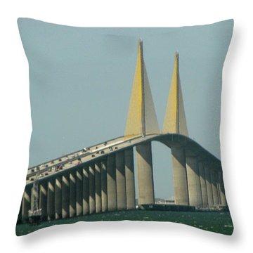Sunshine Skyway Bridge Throw Pillow