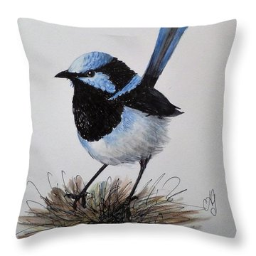 Superb Blue Wren Throw Pillow
