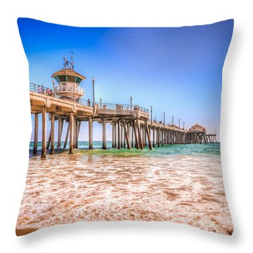 Surf City Pier Throw Pillow
