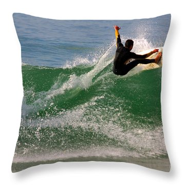 Surfer Throw Pillow by Carlos Caetano