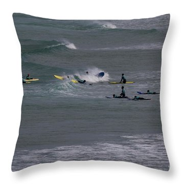 Throw Pillow featuring the photograph Photographs Of Cornwall Surfers At Fistral by Brian Roscorla
