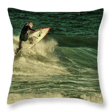 Surfing - Jersey Shore Throw Pillow by Angie Tirado