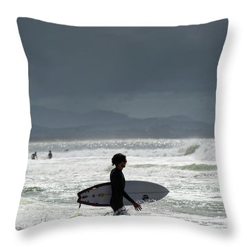 Surfing At  Throw Pillow
