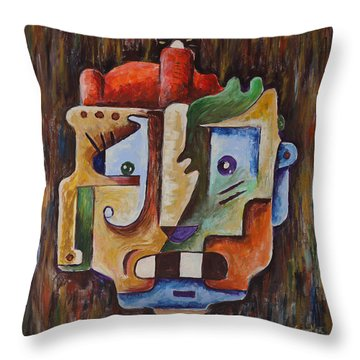 Surrealist Head Throw Pillow