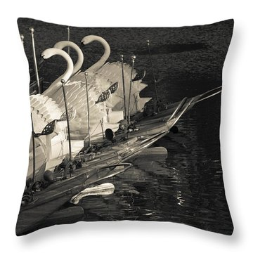 Swan Boats In A River, Boston Public Throw Pillow