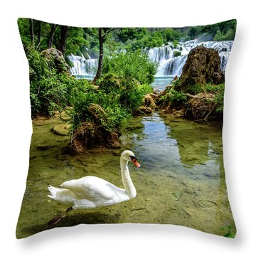 Swan In The Waterfalls Of Skradinski Buk At Krka National Park In Croatia Throw Pillow