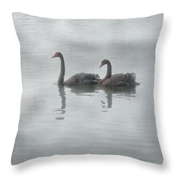 Swan Lake Throw Pillow by Carolyn Dalessandro