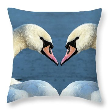 Swans Portrait Throw Pillow