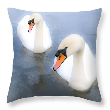 Swans Throw Pillow by Svetlana Sewell