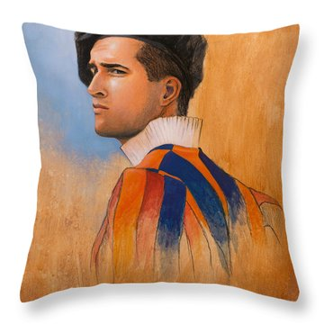 Throw Pillow featuring the painting Swiss Guard by Joe Winkler