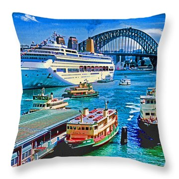 Sydney Quay Throw Pillow by Dennis Cox WorldViews