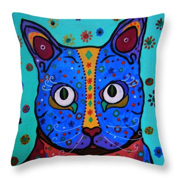 Talavera Cat Throw Pillow